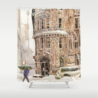 takmaj Shower Curtains featuring Winter in NYC by takmaj