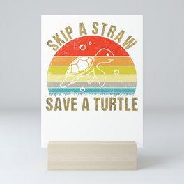 Skip a Straw save a turtle vintage Mini Art Print