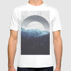 Through the Mountains White MEDIUM Mens Fitted Tee