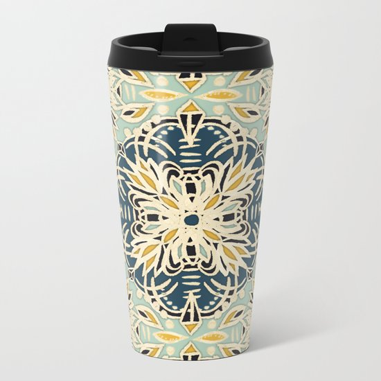 Protea Pattern in Deep Teal, Cream, Sage Green & Yellow Ochre  Metal Travel Mug