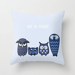 All is Owly (blue) Throw Pillow