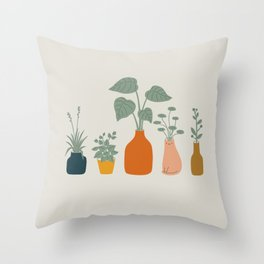 Cat and Plant 9 Throw Pillow
