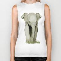 baby elephant Biker Tanks featuring Baby Elephant by Tanya Petruk