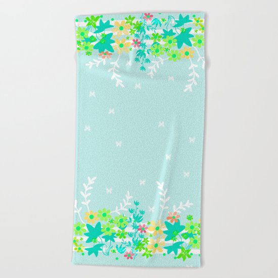 Turquoise floral pattern . Colorful floral background . Beach Towel