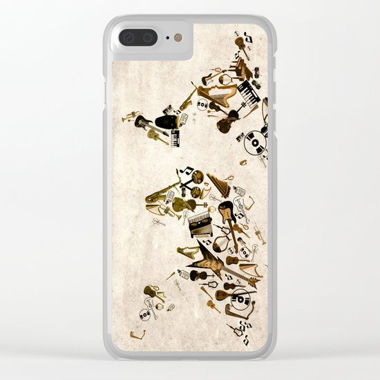 world map music Clear iPhone Case