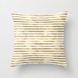 Gold & White Stripe Pattern Throw Pillow