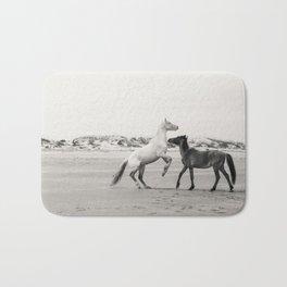 Wild Horses 5 - Black and White Bath Mat