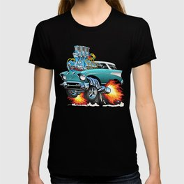 Classic Fifties Hot Rod Muscle Car Cartoon T-shirt