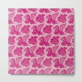 Pegasus Pattern Pink and Raspberry Metal Print
