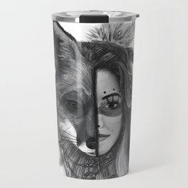 Girl with a fox face Travel Mug