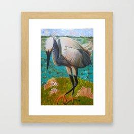 Egret Ready to Strike Framed Art Print