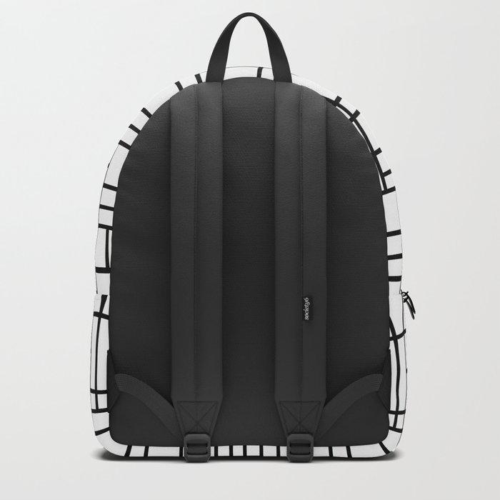 Map Outline Black on White Backpack