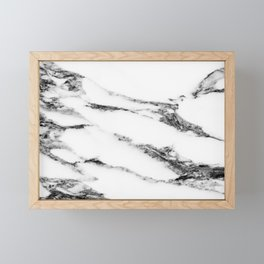 White Black Marble Framed Mini Art Print