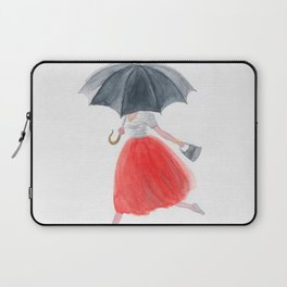Girl with umbrella in rain. fashion illustration. watercolor painting Laptop Sleeve
