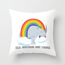 Real Unicorns Have Curves Throw Pillow