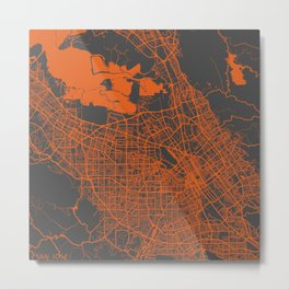 San Jose map orange Metal Print