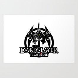 The Darkslayer Logo, White Ring, Fight or Die Lettering Art Print