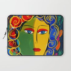 The Green Yellow Pop Girl Portrait Laptop Sleeve