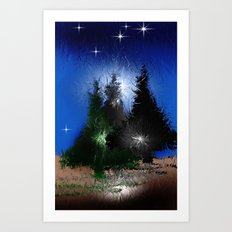 Three firs.  Art Print