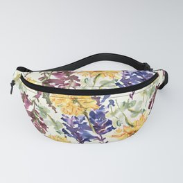 Delphinium botanical yellowish floral design Fanny Pack