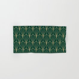 Art Deco Vector in Green and Gold Hand & Bath Towel