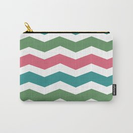 Green Pink Blue Chevron Carry-All Pouch