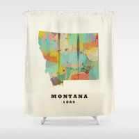 montana Shower Curtains featuring Montana state map modern by bri.buckley