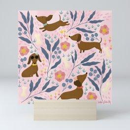 Floral Sausage Dogs Mini Art Print