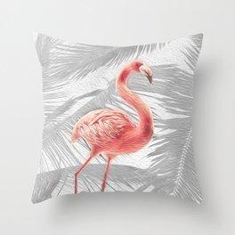 Grey + Pink Tropical Flamingo Throw Pillow