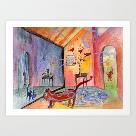 some days are happy, some days are blue Art Print