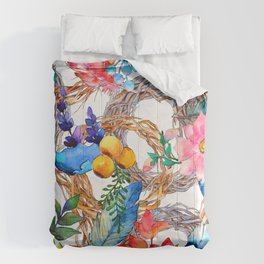 Colorful Watercolor Floral Pattern With Beautiful Wreaths Comforters