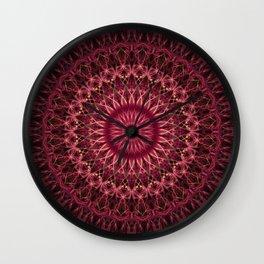 Dark red mandala Wall Clock