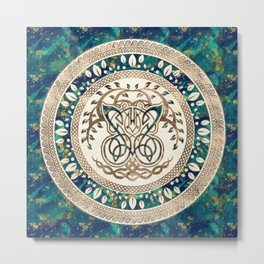 Butterfly and Tree of life Yggdrasil Metal Print