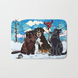 Three Dogs Posing in Winter Bath Mat