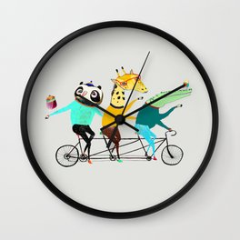 Animals biking. bike art, bike decor, bikes. Wall Clock