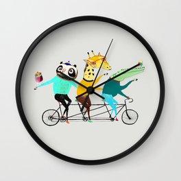 Animals biking. bike art, bike decor, bikes. Wall Clock