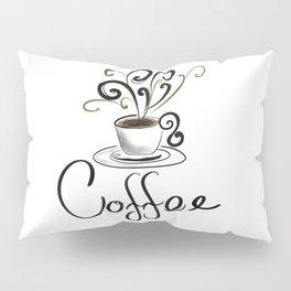 Coffee Cup With Flourish Steam Pillow Sham