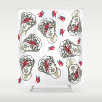 david fleck Shower Curtains featuring David by Laura Pato