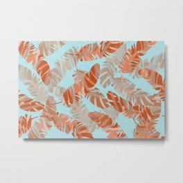 coral Feathers blue background Metal Print