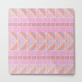 Colorful Geometric Line Work Pattern Metal Print