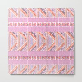 Colorful Geometric Line Work Pattern Metal Print