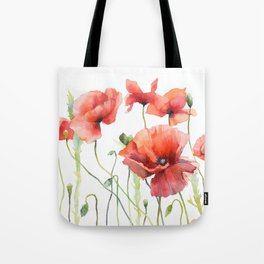 Spring Poppies Papaver Meadow Red Poppies White and Red Watercolor Tote Bag