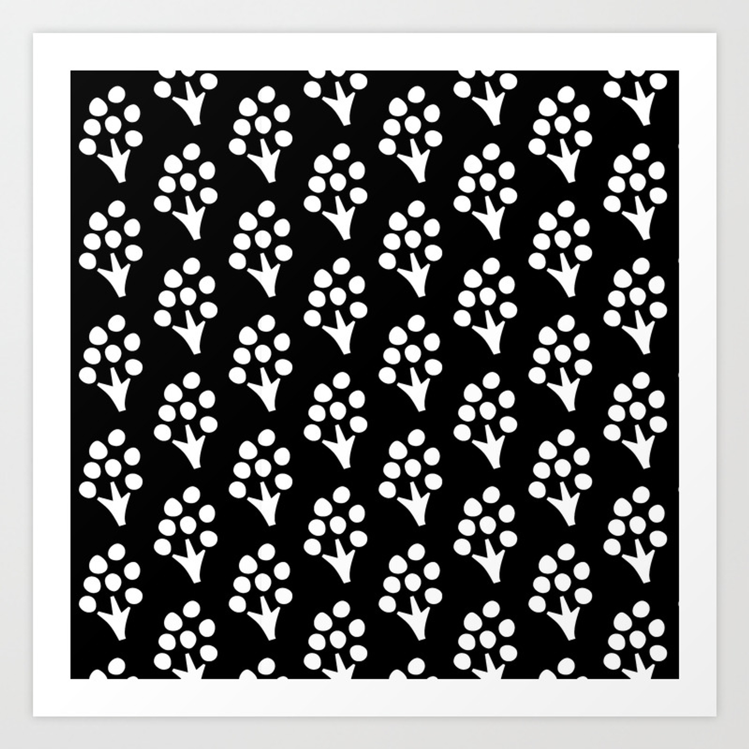 Abstract Scandinavian Floral On Black Background Art Print By