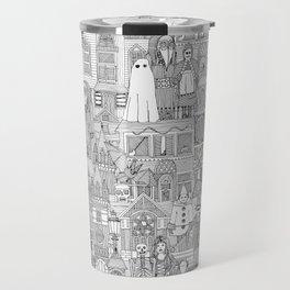 vintage halloween black white Travel Mug