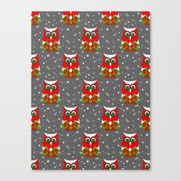 Christmas Snow Owl Pattern Canvas Print