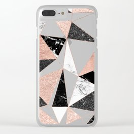 Modern black white marble rose gold glitter foil geometric abstract triangles pattern Clear iPhone Case