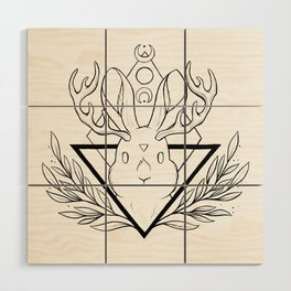 Lunar Rabbit / Jackalope // Black Wood Wall Art