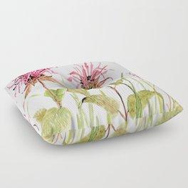 Flowers Bee Balm Pink Garden Wildflowers Nature Art Floor Pillow