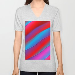 Abstract Neon Red Blue Ombre Unisex V-Neck