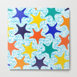 Colorful starfish pattern with stripes Metal Print